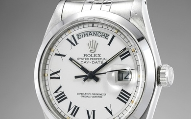 Rolex, An exceedingly rare and important stainless-steel prototype automatic calendar wristwatch with center seconds and bracelet