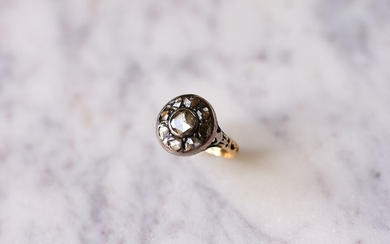 18 kt. Gold, Silver - Ring - 0.70 ct Diamond