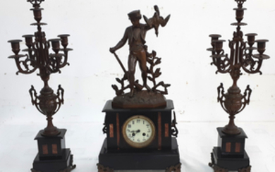3 PIECE FRENCH PATINATED METAL MARBLE CLOCK SET