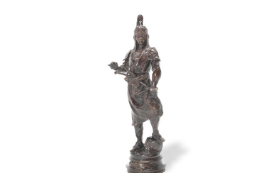 Alfred Bayre (French, 1839-1882): A patinated bronze figure of 'Tartare Mandchou'