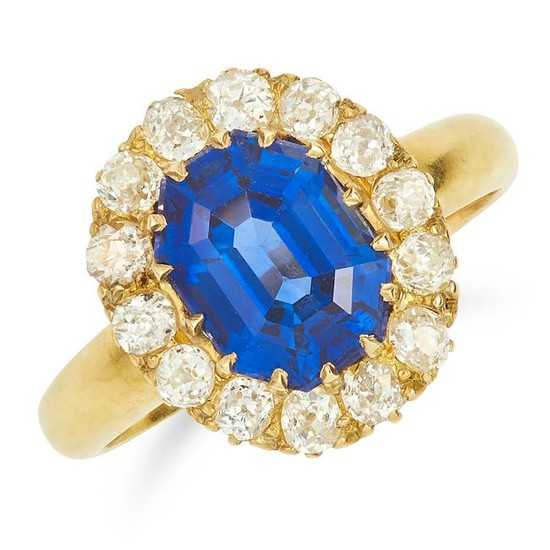 4.10 CARAT UNHEATED SAPPHIRE AND DIAMOND CLUSTER RING