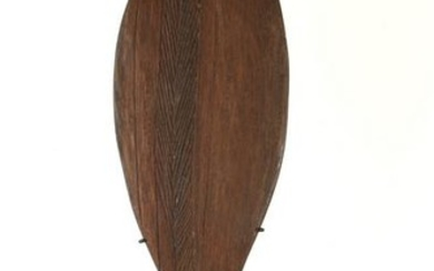 CARVED WOODEN LEAF SHAPE FAN ON STAND
