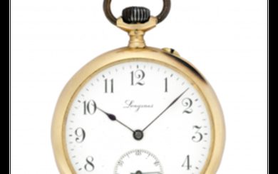LONGINES 18K gold pocket watch Early 20th century Dial,...
