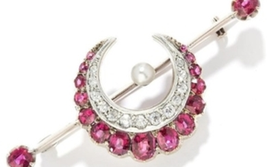 ANTIQUE RUBY AND DIAMOND BROOCH in yellow gold,