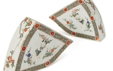 A pair of Chinese porcelain famille verte...