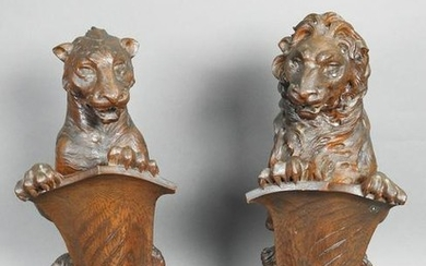 EXCEPTIONAL PAIR RENAISSANCE STYLE NEWEL POST TOPPERS
