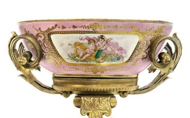 Large French Bronze Mounted Sevres Centerpiece