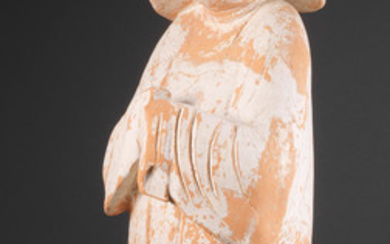 A large pottery figure of a court lady