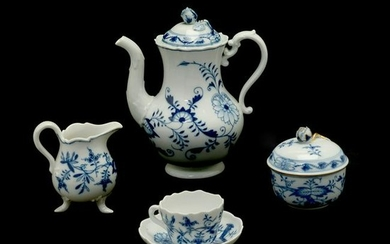Meissen Porcelain Blue Onion Partial Tea Service.