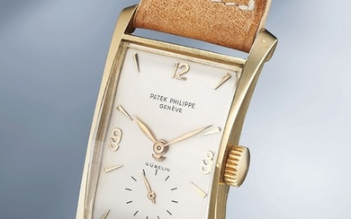 Patek Philippe, Ref. 1593 An unusual and attractive yellow gold rectangular wristwatch with faceted crystal