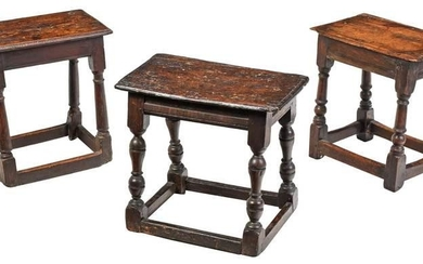 Three Early English Oak Joint Stools