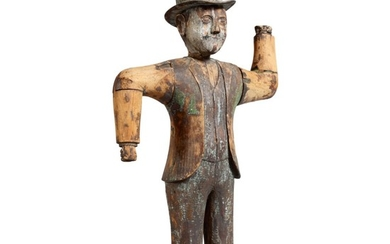 VERY RARE CARVED AND PAINTED PINE WHIRLIGIG OF A MAN WITH A BOWLER HAT, LATE 19TH OR EARLY 20TH CENTURY