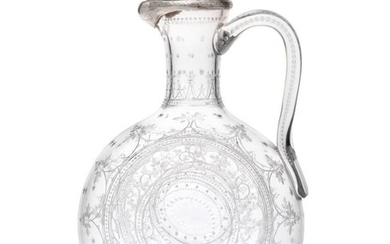 A Victorian Silver-Mounted Engraved-Glass Claret-Jug, Maker's Mark Rubbed, Possibly HM...