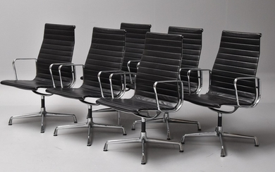 Charles Eames. A set of six black leather chairs, Model EA-107 (6)