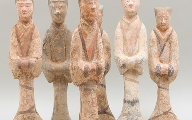 Group of Six Chinese Painted Pottery Figures of