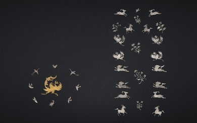 A SET OF THIRTY-TWO GOLD AND SILVER SHEET ORNAMENTS, PINGTUO, TANG DYNASTY (AD 618-907)