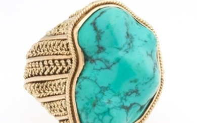 Ladies' Vintage Gold and Turquoise Boulder Ring