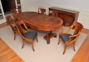 Baker Biedermeier Dining Table And 6 Chairs