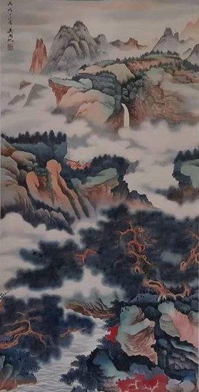 Chinese scroll painting on paper - Chinese scroll painting on paper - 《吴湖帆-山水》Made after Wu Hufan - China - Late 20th century