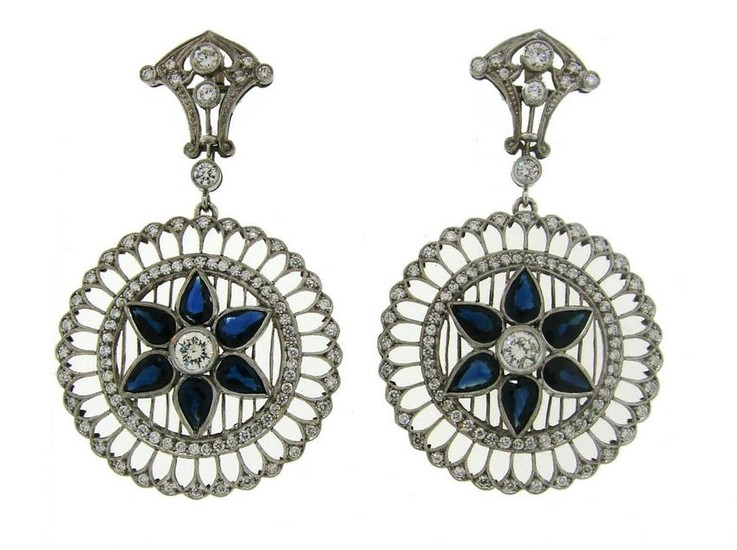 Sapphire Diamond Platinum Dangle EARRINGS Art Deco