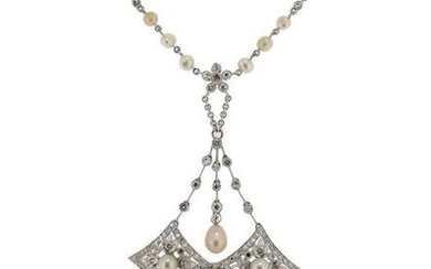A cultured pearl and diamond pendant, the chain...