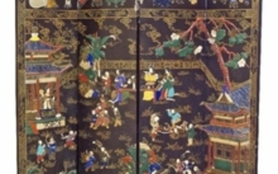 A Chinese lacquer and hardstone inlaid four-panel...