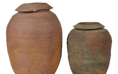 Two earthenware vessels Signed 'Lew-k.'. Heights: 13 1/2 in....