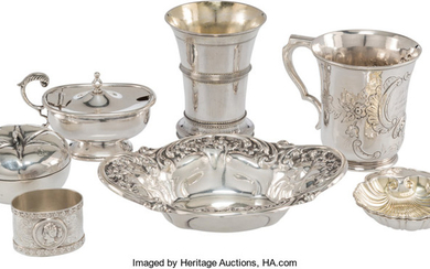 21048: Eight Silver Table Articles, mid-19th-early 20th