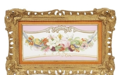 A Copeland hand-painted porcelain plaque 19th century With pink...