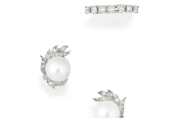 Diamond ring and a pair of cultured pearl and diamond earrings