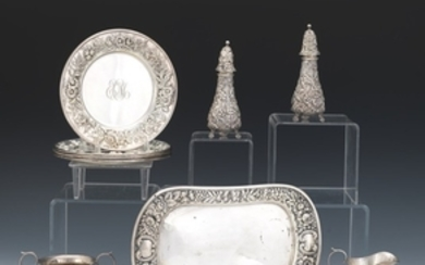 """Nine Sterling Silver Pieces by Gorham, Durgin, S.Kirk & Son and Stieff, """"Repousse"""" Pattern"""