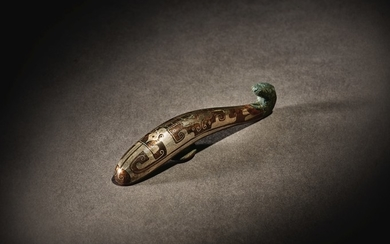 A RARE SILVER-INLAID BRONZE BELT HOOK WARRING STATES PERIOD - HAN DYNASTY