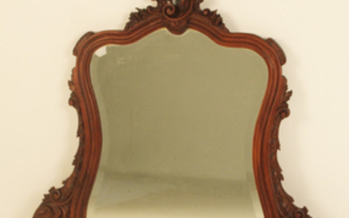 LOUIS XV STYLE WALNUT BEVEL GLASS MIRROR
