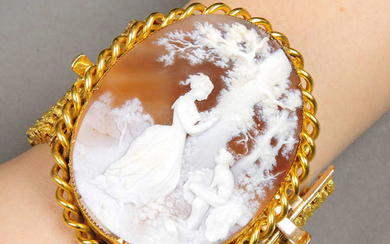 A 19th century gold shell cameo brooch, with detachable bracelet fitting.