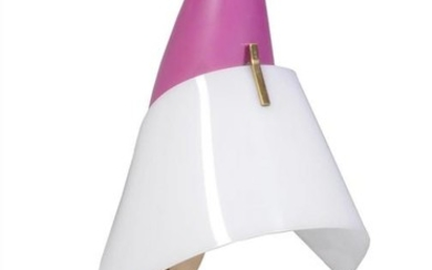 Angelo Lelli for Arredoluce (style of), a lacquered metal table lamp