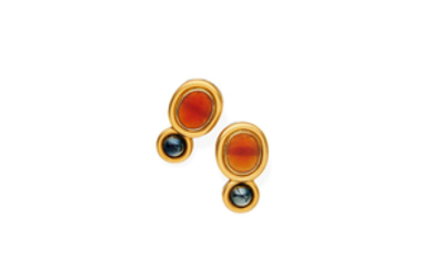 A pair of carnelian and hematite earrings
