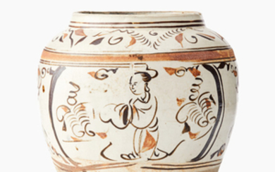 A Cizhou cream and brown-glazed Song-style jar