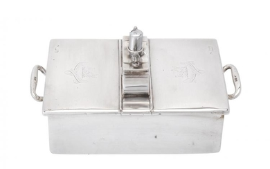 An Edwardian silver double cigar or cigarette box by William Comyns & Sons