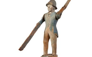 FINE AND RARE CARVED AND POLYCHROME PAINT-DECORATED PINE POLICEMAN WHIRLIGIG, NEW YORK, CIRCA 1890