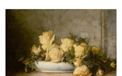 JOHN FERGUSON WEIR | STILL LIFE WITH YELLOW ROSES