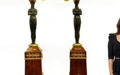 Magnificent Pair of French Empire Figural Torcheres