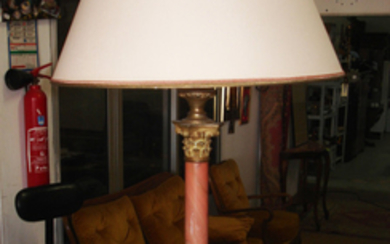 MARBLE AND BRONZE MOUNTED COLUMN LAMP