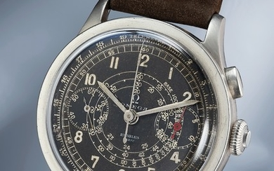Omega, Ref. CK 988 A fine and rare stainless steel chronograph wristwatch with black dial
