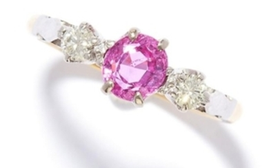 PINK SAPPHIRE AND DIAMOND THREE STONE RING in 18ct