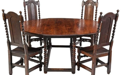 Rare Charles II Oak Dining Table, Period Chairs