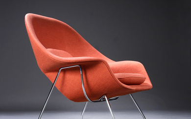 Eero Saarinen. 'Womb chair', lounge chair, orange Hallingdal wool