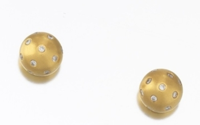 Ladies' Gold and Diamond Pair of Ball Earrings