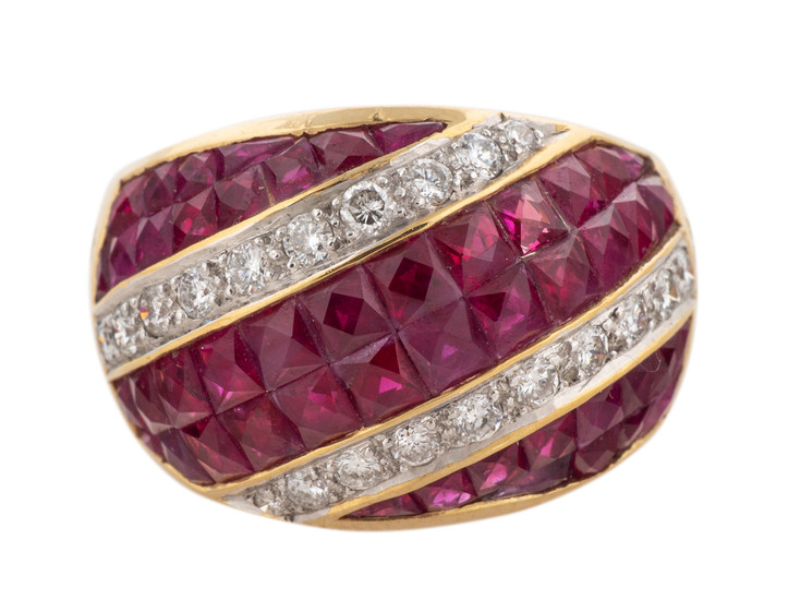 A MODERN 18K YELLOW GOLD, RUBY AND DIAMOND INVISIBLE SETTING RING