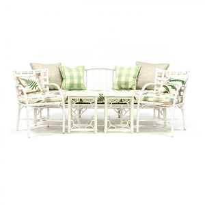 Five Piece Vintage Painted Rattan Patio Set