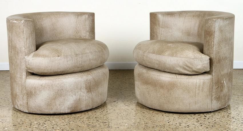 PAIR MID CENTURY MODERN LEATHER LOUNGE CHAIRS